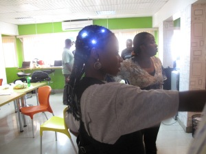 The finished product- LEDs lighting up plaited  hair.